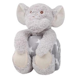 Coffret peluche éléphant avec son plaid personnalisable, vendu par rêves de fil.