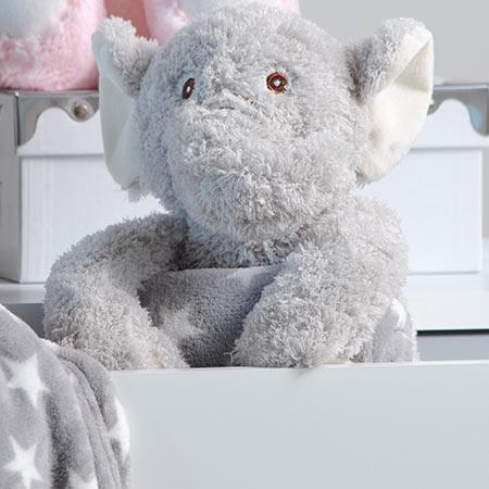 Coffret peluche éléphant avec son plaid personnalisable vendu par rêves de fil
