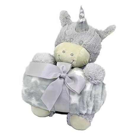 Coffret peluche licorne avec son plaid personnalisable vendu par rêves de fil