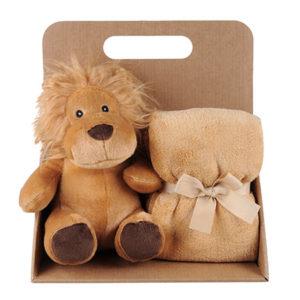 Coffret peluche lion avec son plaid personnalisable, vendu par rêves de fil.