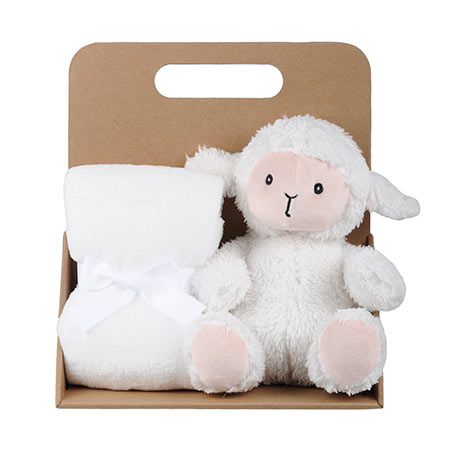Coffret peluche mouton avec son plaid personnalisable, vendu par rêves de fil.