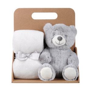 Coffret peluche ourson avec son plaid personnalisable, vendu par rêves de fil.