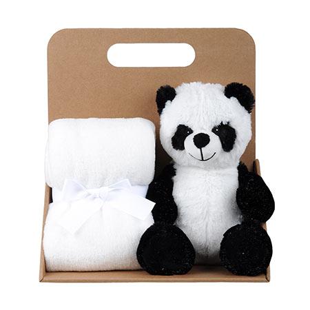 Coffret peluche panda avec son plaid personnalisable, vendu par rêves de fil.