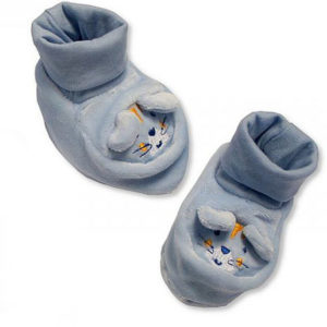 chausson lapin en coton bleu vendu par rêves de fil