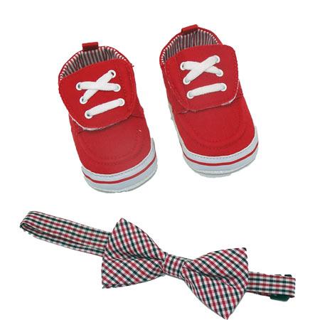Chaussures bébé rouge avec nœud papillon, vendu par rêves de fil.
