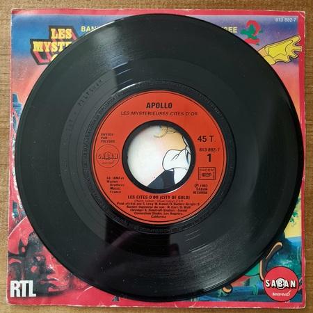 Disque vinyle 45 tours Les Mystérieuses Cités d'Or pour enfant vendu par Rêves de Fil.