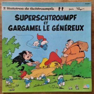 Disque vinyle 33 tours Superschtroumpf et Gargamel le généreux pour enfant vendu par Rêves de Fil.