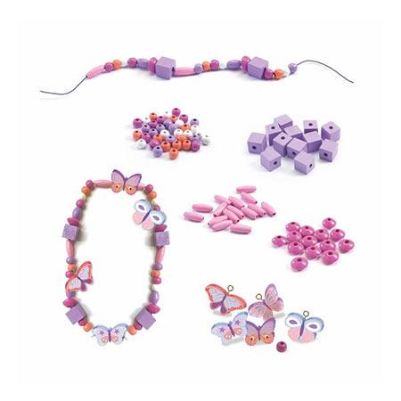 Perles en bois papillons - Djeco vendu par rêves de fil