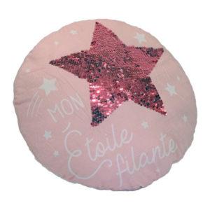 coussin rose étoile à sequins vendu par rêve de fil