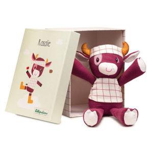Peluche Rosalie la vache en coton bio, Lilliputiens, vendu par rêves de fil.