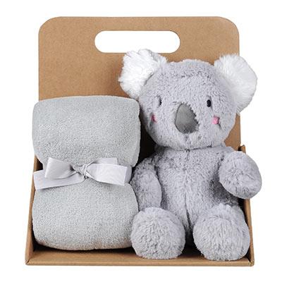 Coffret peluche koala avec son plaid personnalisable, vendu par rêves de fil.